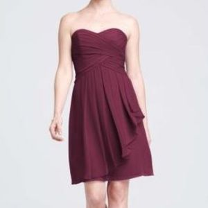 David bridal burgundy sleeveless dress